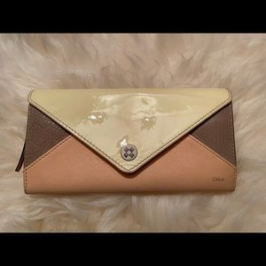 Chloe Patchwork Leather and patent leather wallet